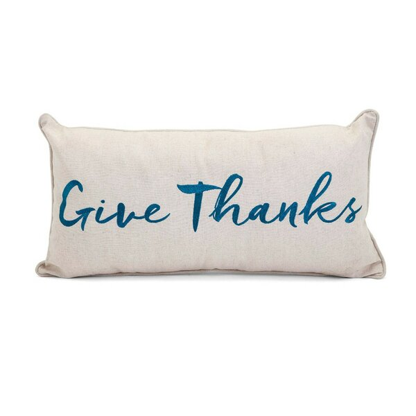 Heena Embroidered Give Thanks 100% Cotton Lumbar Pillow (Set of 2) by Red Barrel Studio